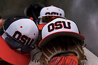 Oregon State Beavers hats during a game against the New Mexico Lobos on February 15, 2019 at Surprise Stadium in Surprise, Arizona. Oregon State defeated New Mexico 6-5. (Zachary Lucy/Four Seam Images)