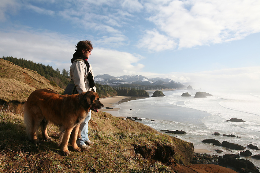 Ecola Park on cliff overlooking Cannon Beach, Oregon and Pacific Ocean
