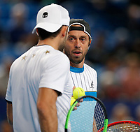 3rd January 2020; RAC Arena, Perth, Western Australia; ATP Cup Australia, Perth, Day 1, Russia versus Italy; Paolo Lorenzi of Italy chats with doubles partner Simone Bolelli of Italy - Editorial Use