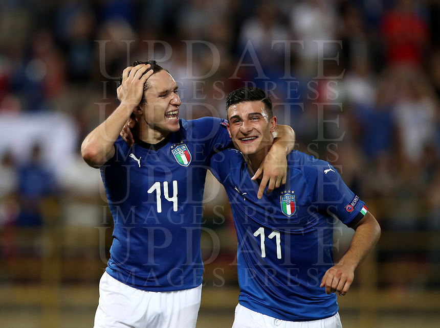 Football: Uefa European under 21 Championship 2019, Italy - Spain Renato Dall'Ara stadium Bologna Italy on June16, 2019.<br /> Italy's Federico Chiesa (l) and Riccarco Orsolini (r) celebrate after winning 3-1 the Uefa European under 21 Championship 2019football match between Italy and Spain at Renato Dall'Ara stadium in Bologna, Italy on June16, 2019.<br /> UPDATE IMAGES PRESS/Isabella Bonotto