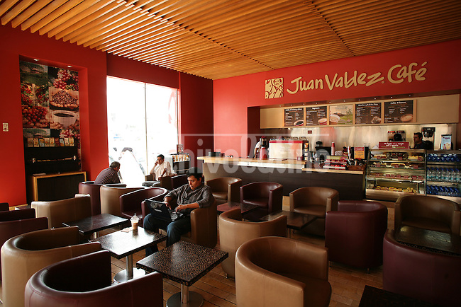 A store of the chain Juan Valdez Cafe in Quito, a company belonging to Colombian Coffe Growers Association. The company is spreading fast and succesfully through Latin America.