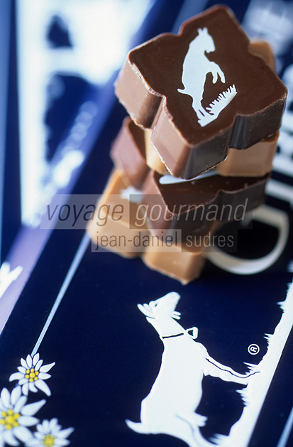 """Europe/Suisse/Saanenland/Gstaad: Chocolats Saane Gibeni fourrés au praliné crémeux et aux noisettes de la boulangerie confiserie """"Early Beck"""""""