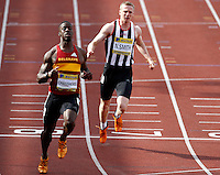 Photo: Richard Lane/Richard Lane Photography..Aviva World Trials & UK Championships athletics. 10/07/2009. Dwain Chambers wins in a men's 100m heat.