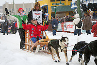 Sonny Lindner leaves the 2011 Iditarod ceremonial start line in downtown Anchorage, during the 2012 Iditarod..Jim R. Kohl/Iditarodphotos.com