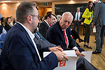 The candidate of Ciudadanos for Barcelona, Juan Carlos Girauta and politic Jose Manuel Garcia-Margallo involved in the presentation of the report on the State of the European Union in Madrid. June 02. 2016. (ALTERPHOTOS/Borja B.Hojas)