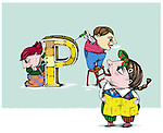 Illustrative image of construction workers building letter P representing education