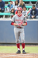 Blake Clanton (17) of the Washington State Cougars bats against the Loyola Marymount Lions at Page Stadium on February 26, 2017 in Los Angeles, California. Loyola defeated Washington State, 7-4. (Larry Goren/Four Seam Images)