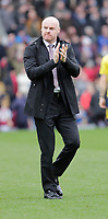 2nd February 2020; Turf Moor, Burnley, Lanchashire, England; English Premier League Football, Burnley versus Arsenal; Burnley manager Sean Dyche acknowledges the crowd before the game against Arsenal - Strictly Editorial Use Only. No use with unauthorized audio, video, data, fixture lists, club/league logos or 'live' services. Online in-match use limited to 120 images, no video emulation. No use in betting, games or single club/league/player publications