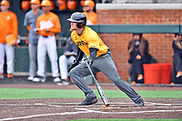 Appalachian State Mountaineers first baseman Robbie Young (28) swings at a pitch during a game against the Tennessee Volunteers at Lindsey Nelson Stadium on February 16, 2019 in Knoxville, Tennessee. The Volunteers defeated Mountaineers 2-0. (Tony Farlow/Four Seam Images)