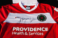 An autographed Portland Thorns jersey up for auction prior to a National Women's Soccer League (NWSL) match against Sky Blue FC at Yurcak Field in Piscataway, NJ, on June 22, 2013.