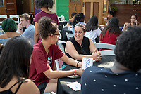 Anahit Aladzhanyan, Assistant Athletic Director; Head Coach, Women's Basketball<br /> Incoming first-years participating in MSI have dinner with Oxy faculty and staff in the ICC backyard, July 31, 2018.<br /> The Multicultural Summer Institute (MSI) is a four-week academic/residential program for approximately 50 incoming first-year students who represent a variety of ethnic, regional and cultural backgrounds. Through MSI, Occidental College introduces its student body to the social, cultural and intellectual resources of Southern California, and familiarizes students with the Oxy community and surrounding Los Angeles area.<br /> (Photo by Marc Campos, Occidental College Photographer)