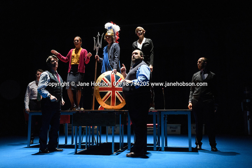 "The National Theatre presents ""My Country; a work in progress"", in the words of people across the UK and Carol Ann Duffy, in the Dorfman. Rufus Norris directs. Design is by Katrina Lindsay, lighting design by Paul Knott. Picture shows: Cavan Clarke, Stuart McQuarrie, Seema Bowri, Penny Layden, Laura Elphinstone, Christian Patterson, Adam Ewan."