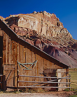 Capitol Reef National Park, UT<br /> Doors of the Gifford barn at Fruita under the red cliffs of Capitol Reef