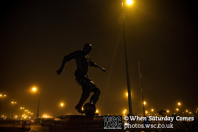Blackpool 2 Liverpool 1, 12/01/2011. Bloomfield Road, Premier League. A statue of former Blackpool footballer Stan Mortensen which is situated outside the club's Bloomfield Road stadium pictured before they played host to Liverpool FC in a Premier League match. The home side won by two goals to one. It was the first time the clubs had met in a league match since Blackpool were last in the top division of English football in 1970-71. Photo by Colin McPherson.