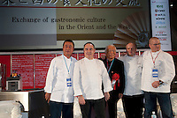 Members of a panel discussion at Tokyo Taste, The World Summit of Gastronomy 2009. 9 February 2009,Tokyo, Japan. From left to right: Nobuyuki Matsuhisa, Ferran Adria, organizer Hattori Yukio, Joel Robuchon and Heston Blumenthal. February 2009,Tokyo, Japan.Many of the world's top chefs are assembled for the sold-out 3 day event in the center of Tokyo.
