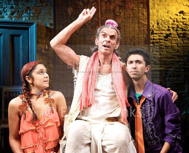 Kanjoos The Miser adapted by Hardeep Singh Kohli <br /> and Jatinder Verma<br /> at The Tara Theatre, London, Great Britain <br /> press photocall<br /> 28th September 2012 <br /> <br /> <br /> Antony Bunsee as Harjinder<br /> <br /> Krupa Pattani as Dimple<br /> <br /> Sam Kordbacheh as Valmiki<br /> <br /> Deven Modha as Kishore<br /> <br /> Mehrish Yasin as Mariam<br /> <br /> Caroline Kilpatrick as Frosine<br /> <br /> Photograph by Elliott Franks