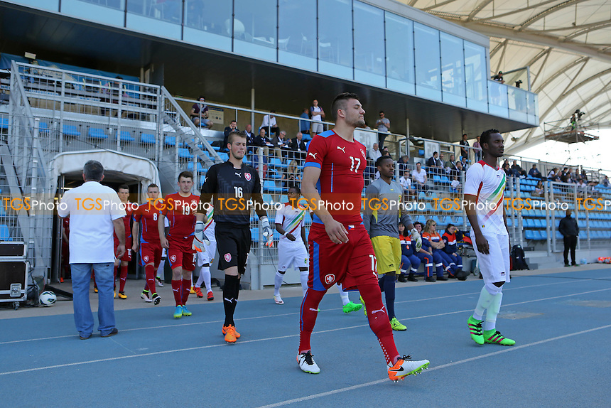 Czech Republic captain, Patrizio Stronati, leads out his team during Czech Republic Under-20 vs Mali Under-20, 2016 Toulon Tournament Football at Stade Leo Lagrange on 18th May 2016