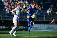 Seattle, WA - Sunday, May 1, 2016: Seattle Reign FC defender Rachel Corsie (4) traps the ball during the second half of a National Women's Soccer League (NWSL) match at Memorial Stadium. Seattle won 1-0.