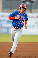 Auburn Doubledays outfielder Angelberth Montilla #11 during a game against the Batavia Muckdogs at Dwyer Stadium on September 3, 2011 in Batavia, New York.  Auburn defeated Batavia 2-1.  (Mike Janes/Four Seam Images)