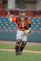 Bowie Baysox catcher Brian Ward #9 during a game against the Erie Seawolves on April 23, 2013 at Jerry Uht Park in Erie, Pennsylvania.  Erie defeated Bowie 4-1.  (Mike Janes/Four Seam Images)
