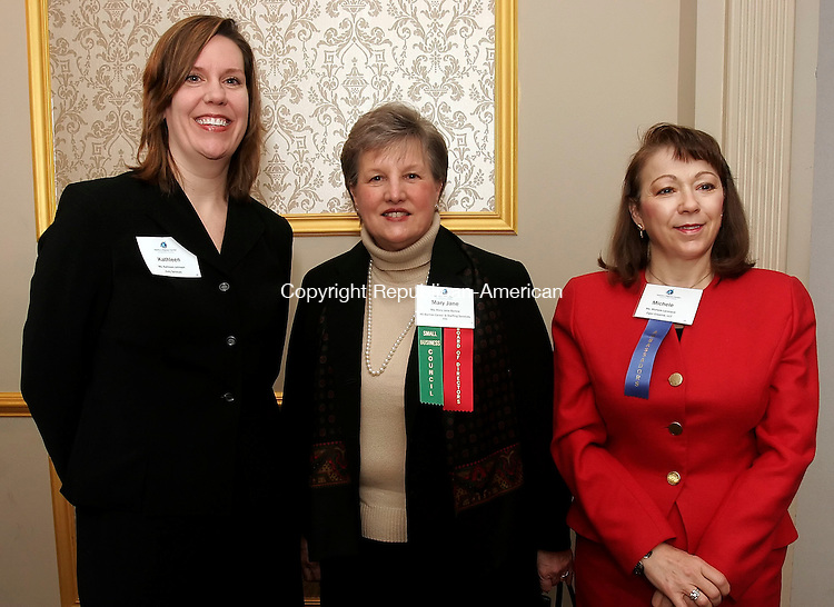 WATERBURY, CT19 January 2006-011906TK05 (left to right:)  The Waterbury Regional Chamber hosted the Harold Webster Smith Awards Breakfast Thursday at the  Villa Rosa, Ponte Club in Waterbury. Attending was Kathleen Johnson of Kelly Services, Mary Jane Barlow of MJ Barlow Career and Staffing Services, Inc. and Michele Larocque of Eiger Creative, LLC.   Tom Kabelka / Republican-American (Kathleen Johnson, Kelly Services, Mary Jane Barlow, MJ Barlow Career and Staffing Services, Inc.,  Michele Larocque, Eiger Creative, LLC. )CQ