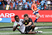 2nd February 2019, Spotless Stadium, Sydney, Australia; HSBC Sydney Rugby Sevens; England versus Fiji; Aminiasi Tuimaba of Fiji scores a try as Tom Mitchell of England tries to catch him