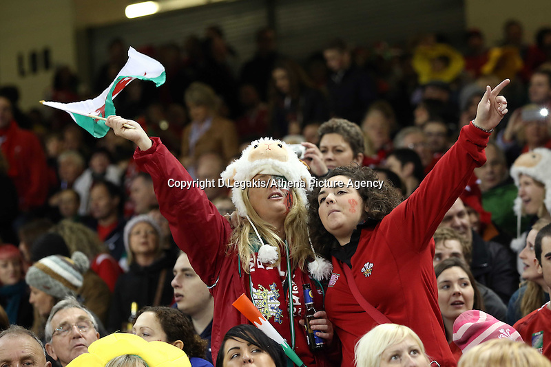 Pictured: Two women Wales supporters with a flag. Saturday 15 November 2014<br />