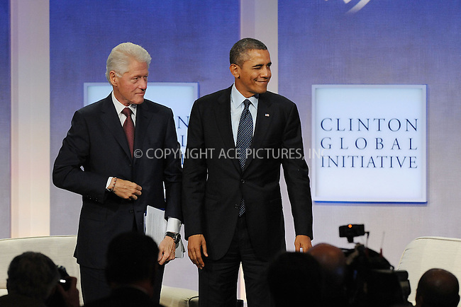 WWW.ACEPIXS.COM<br /> September 24, 2013 New York City<br /> <br /> Former U.S. President Bill Clinton and U.S. President Barack Obama on stage during the annual Clinton Global Initiative (CGI) meeting on September 24, 2013 in New York City.<br /> <br /> By Line: Kristin Callahan/ACE Pictures<br /> <br /> ACE Pictures, Inc.<br /> tel: 646 769 0430<br /> Email: info@acepixs.com<br /> www.acepixs.com<br /> <br /> Copyright: Kristin Callahan/ACE Pictures