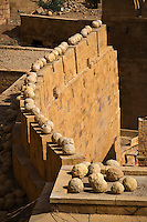 STONES on the wall of JAISALMER FORT were used as weapons against the Rajputs enemies - RAJASTHAN, INDIA
