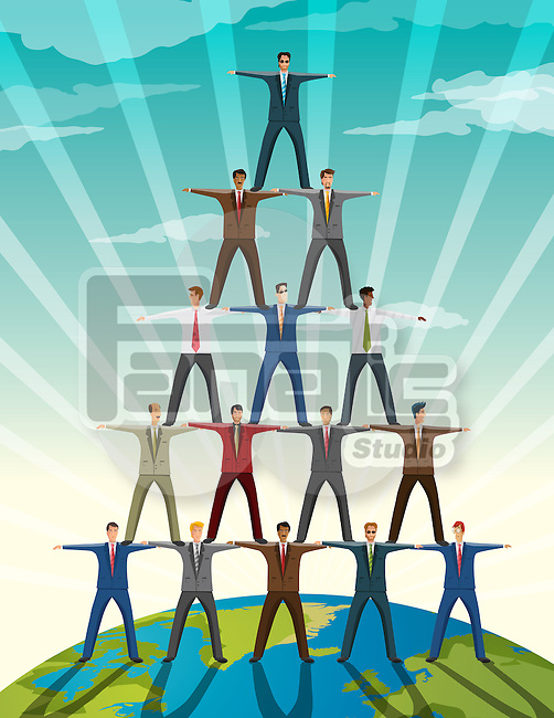 Businesspeople standing in pyramid formation