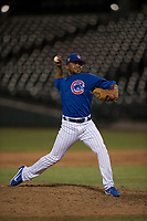AZL Cubs 1 relief pitcher Fauris Guerrero (41) delivers a pitch during an Arizona League game against the AZL Cubs 1 at Sloan Park on June 28, 2018 in Mesa, Arizona. The AZL Athletics defeated the AZL Cubs 1 5-4. (Zachary Lucy/Four Seam Images)