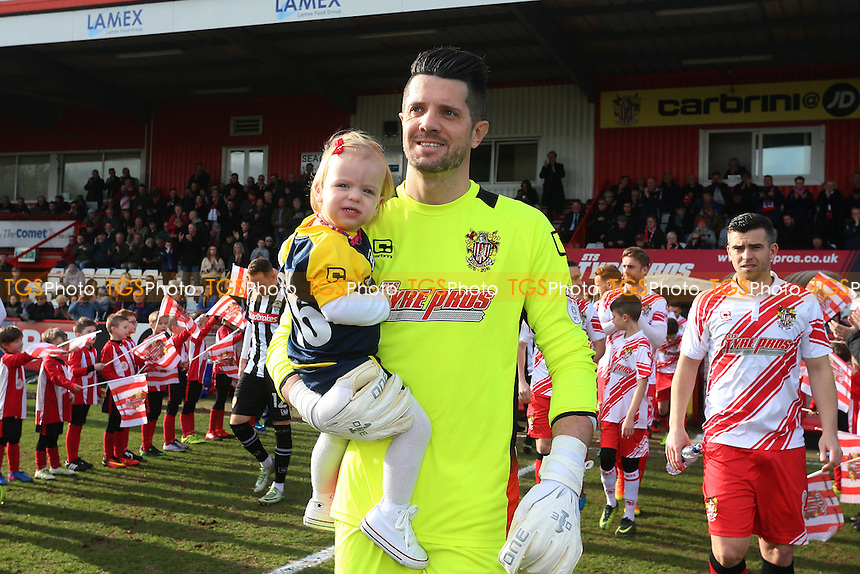 Chris Day of Stevenage walks out during Stevenage vs Notts County, Sky Bet EFL League 2 Football at the Lamex Stadium on 4th March 2017
