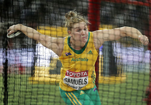 25.08.2015. Beijing, China.  Dani Samuels ofAustralia in action during the women's Discus Throw final of the Beijing 2015 IAAF World Championships at the National Stadium, also known as Bird's Nest, in Beijing, China, 25 August 2015.