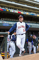 Dan Hartleb (24) of the Illinois Fighting Illini looks on during the 2015 Big Ten Conference Tournament between the Illinois Fighting Illini and Nebraska Cornhuskers at Target Field on May 20, 2015 in Minneapolis, Minnesota. (Brace Hemmelgarn/Four Seam Images)