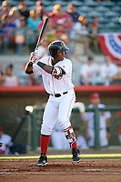 Florida Fire Frogs right fielder Ronald Acuna (27) at bat during a game against the Daytona Tortugas on April 6, 2017 at Osceola County Stadium in Kissimmee, Florida.  Daytona defeated Florida 3-1.  (Mike Janes/Four Seam Images)