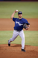 Lakeland Flying Tigers relief pitcher Alfred Gutierrez (28) delivers a pitch during the second game of a doubleheader against the Tampa Tarpons on May 31, 2018 at George M. Steinbrenner Field in Tampa, Florida.  Lakeland defeated Tampa 3-2.  (Mike Janes/Four Seam Images)