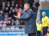 Northampton Town Manager Chris Wilder during the Sky Bet League 2 match between Northampton Town and Wycombe Wanderers at Sixfields Stadium, Northampton, England on the 20th February 2016. Photo by Liam McAvoy.