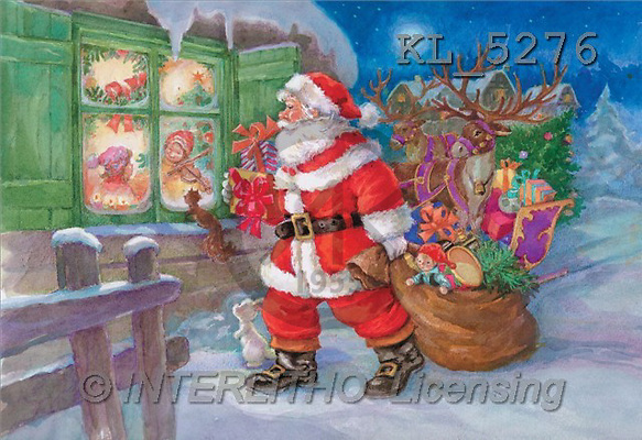 Interlitho, Sue Allison, CHRISTMAS SANTA, SNOWMAN, classical, paintings, santa, bag, window(KL5276,#X#) Weihnachtsmänner, Papá Noel, Weihnachten, Navidad, illustrations, pinturas klassisch, clásico