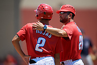 GCL Phillies West manager Milver Reyes (28) talks with Luis Rojas (2) during a Gulf Coast League game against the GCL Yankees East on August 3, 2019 at the Carpenter Complex in Clearwater, Florida.  The GCL Yankees East defeated the GCL Phillies West 4-0, the second game of a doubleheader.  (Mike Janes/Four Seam Images)