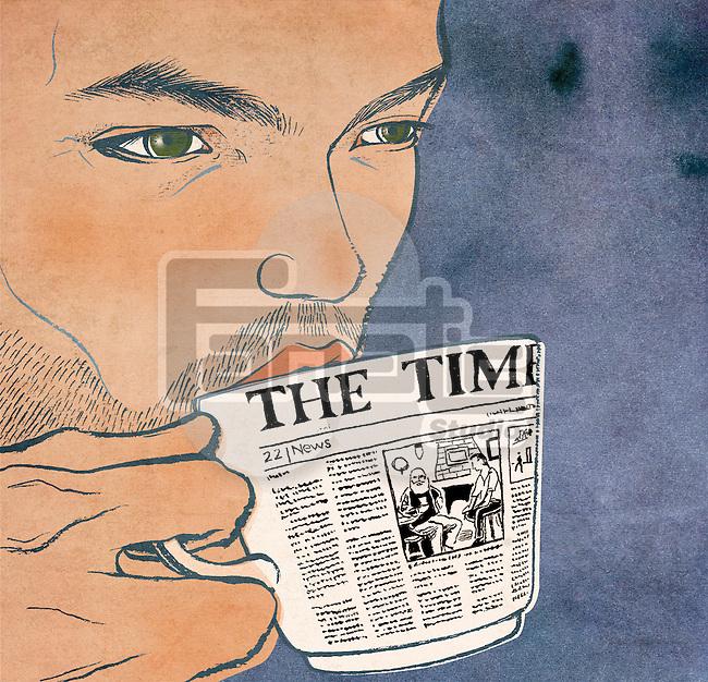 Close-up of a man drinking tea representing morning news