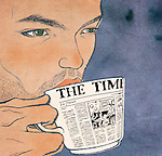 Close-up of a man drinking tea representing morning news