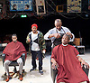 Barbershop Chronicles <br /> A co-production with Fuel &amp; West Yorkshire Playhouse<br /> by Inua Ellams<br /> at the Dorfman Theatre, National Theatre, London, Great Britain <br /> Press photocall <br /> 6th June 2017 <br /> <br /> <br /> Peter Bankole as Kwabena <br /> <br /> Fisayo Akinade<br /> <br /> <br /> Abdul Salis <br /> as Kwame <br /> <br /> Cyril Nri <br /> as Emmanuel <br /> <br /> <br /> Photograph by Elliott Franks <br /> Image licensed to Elliott Franks Photography Services