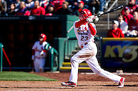Ryan Jackson (23) of the Springfield Cardinals follows through on his swing during a game against the Frisco RoughRiders on April 16, 2011 at Hammons Field in Springfield, Missouri.  Photo By David Welker/Four Seam Images
