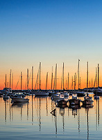 Sunrise sailboats in Vineyard Haven harbor, Martha's Vineyard, Massachusetts, USA