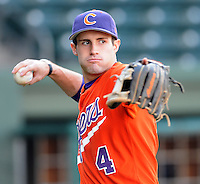 Infielder John Hinson (4) of the Clemson Tigers in a game against the Presbyterian College Blue Hose on Wednesday, March 16, 2011, at Fluor Field in Greenville, S.C.  Photo by Tom Priddy / Four Seam Images