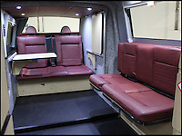 BNPS.co.uk (01202 558833).Pic: Danbury/BNPS..***Please Use Full Byline***..Glamper Van.....Interior before the conversion into an elaborate 'glamper'..This van-tastic camper is guaranteed to turn heads after engineers used Thunderbirds-style technology to double living space at the touch of a button...It might look just like any other Volkswagen camper with all the usual mod-cons like a built-in cooker, fridge, convertible bed and even a lifting roof...But the new T5 Doubleback hides a secret compartment that automatically slides out by flicking a switch...The new invention transforms the elongated van into a 26ft long home on wheels and doubles the living space....