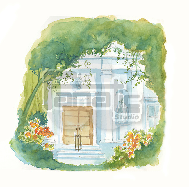Illustrative image of peaceful house covered with greenery