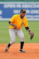 Bradenton Marauders infielder Gift Ngoepe #5 during practice before a game against the Jupiter Hammerheads at Roger Dean Stadium on April 30, 2012 in Jupiter, Florida.  Bradenton defeated Jupiter 8-0.  (Mike Janes/Four Seam Images)