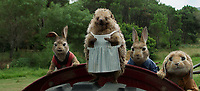 Peter Rabbit (2018)<br /> Flopsy (Margot Robbie), Mrs.Tiggy-Winkle (Sia), Peter Rabbit (James Corden) and Benjamin (Matt Lucas) <br /> *Filmstill - Editorial Use Only*<br /> CAP/KFS<br /> Image supplied by Capital Pictures