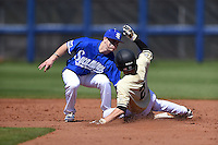 Indiana State Sycamores shortstop Tyler Friis (3) tags out Tyler Campbell (2) on a pick off during a game against the Vanderbilt Commodores on February 21, 2015 at Charlotte Sports Park in Port Charlotte, Florida.  Indiana State defeated Vanderbilt 8-1.  (Mike Janes/Four Seam Images)